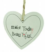 HEART SHAPED 'MAKE TODAY BEAUTIFUL' CHUNKY WOODEN SHABBY CHIC PLAQUE SIGN GIFT..